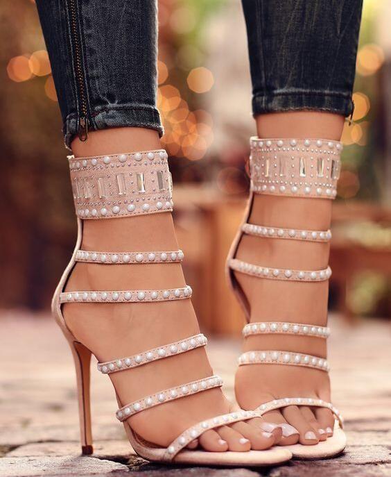 4e36b9030d3a04 New Luxury Women Fashion Nude Pears Buckle Zip Back Strips Stiletto Heel  Party Wedding Sandals Pumps Shoes