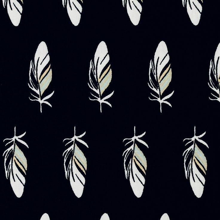 Tickling Toes, cotone nero Soft Cactus stoffa nera con piume