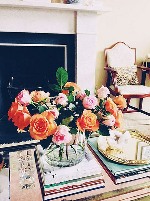 Coffee Table Vignette Tablescape Fresh Flowers Coffee
