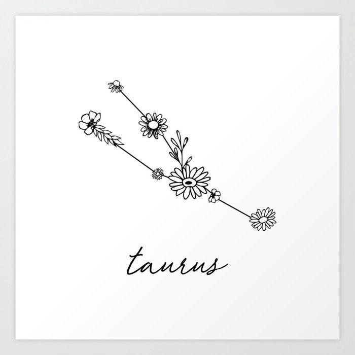 Taurus Floral Zodiac Constellation von aterk
