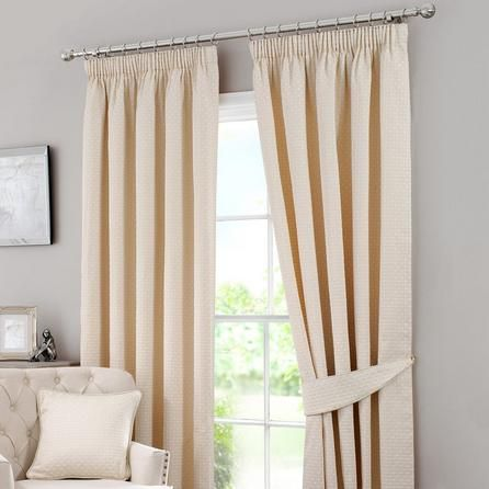 Dunelm Omega Embroidered Natural Brown Cotton Pencil Pleat Curtains (168cm x 182cm)