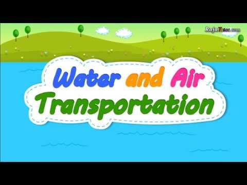 Learn water and air transportation vocabulary for kids and children