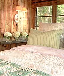 I would love to build a log home, and these colors look so homey and comfortable, yet still femine:)
