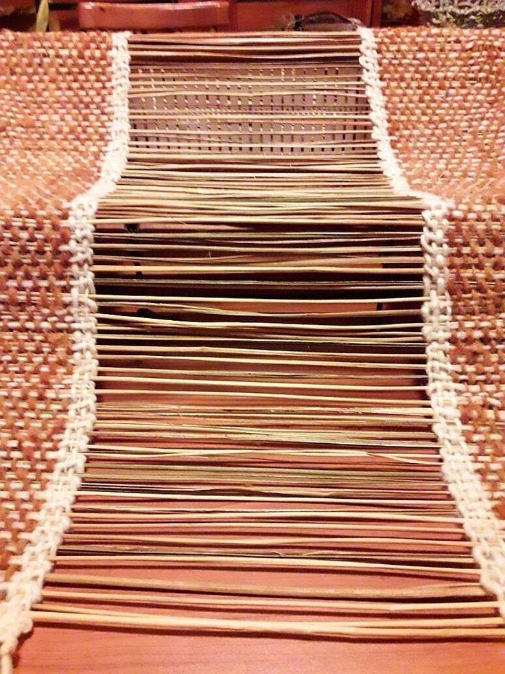Camino de mesa tejido a telar con Fibras Naturales