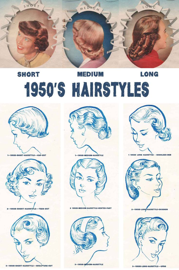 Vintage 1950s hairstyles for your hair length