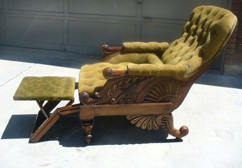 Exceptional 19th Century Carved Suede Antique Rare Victorian Recliner Chair | eBay