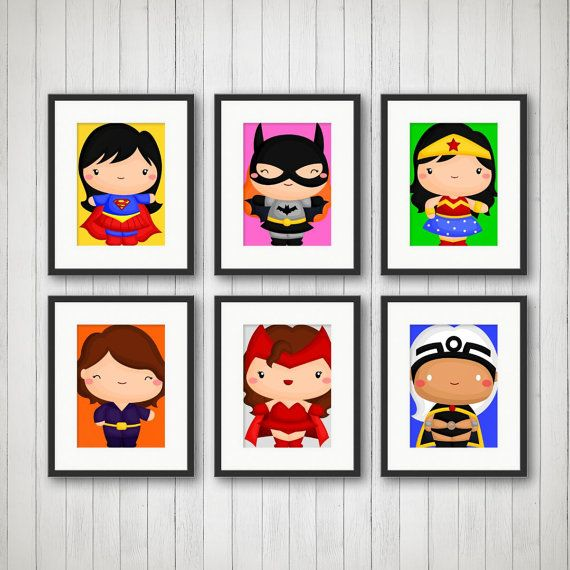 Superhero Prints Girls Room Decor Playroom by SimplyLoveCreations