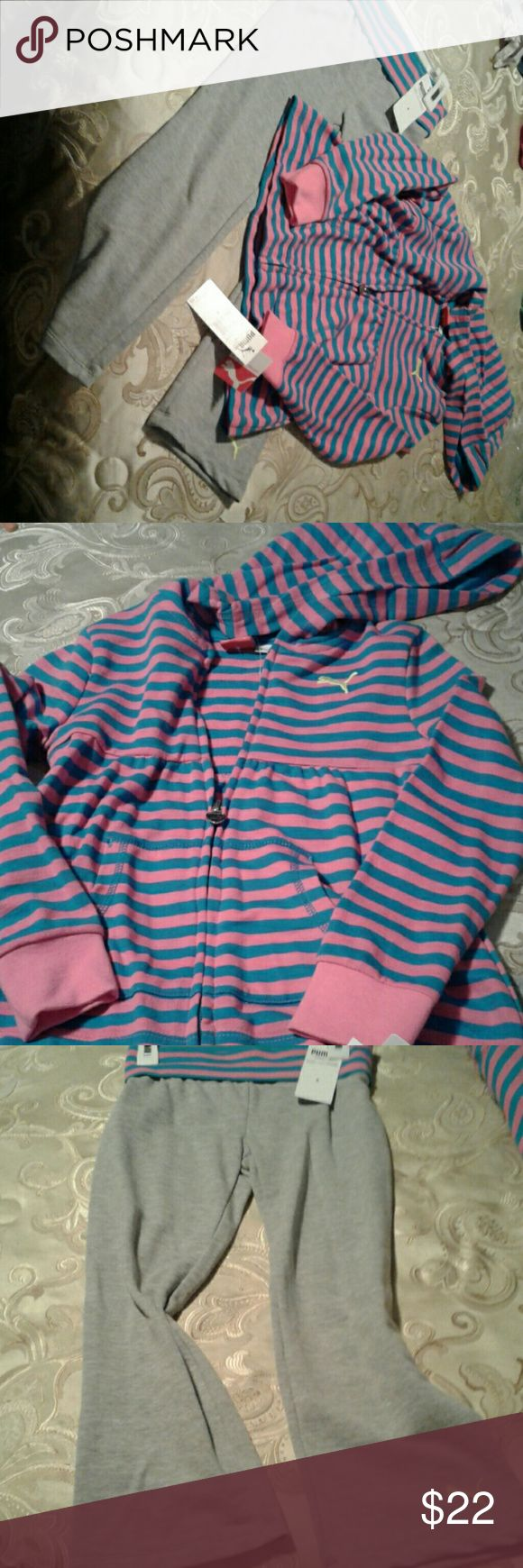 Girls Puma jogging suit New with tags has hood on jacket cute cute Puma Matching Sets