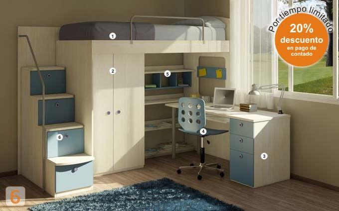 cama marinera con escritorio  camas-marineras-varones