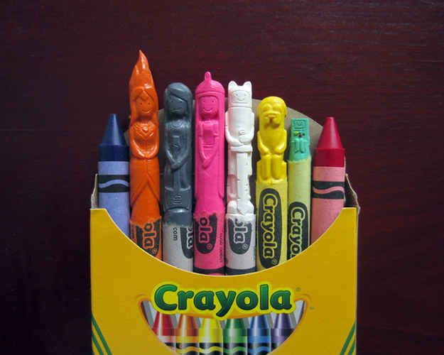 There's the cast of Adventure Time. | These Pop Culture Icons Are Carved Entirely Out Of Crayons