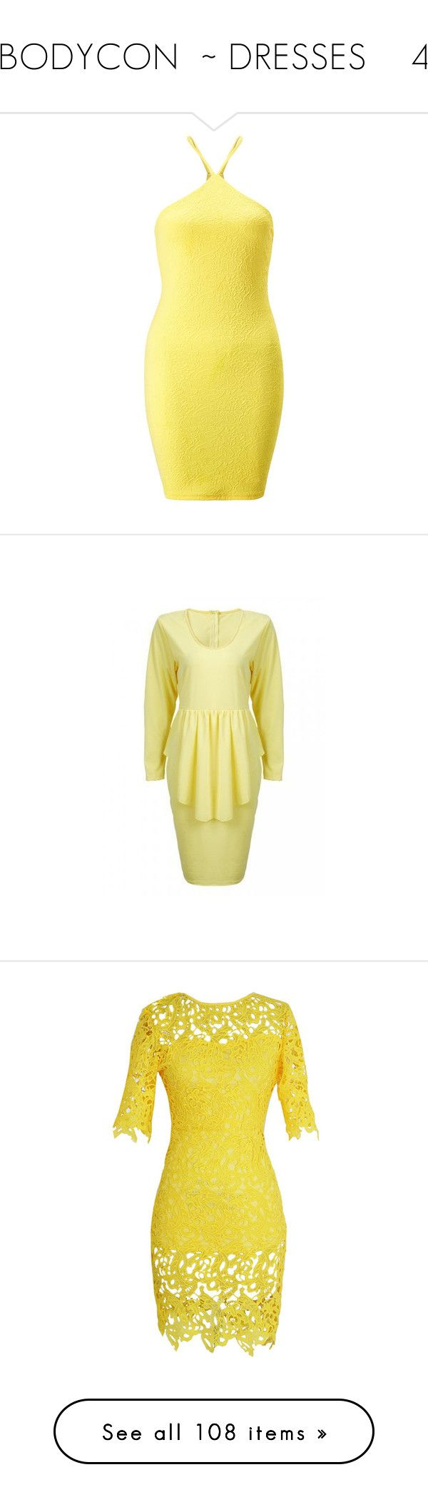 """""""BODYCON  ~ DRESSES    4"""" by kuropirate ❤ liked on Polyvore featuring dresses, petite, yellow, body con dress, yellow dresses, yellow body con dress, petite bodycon dresses, miss selfridge dress, yellow bodycon dress and long sleeve bodycon dress"""