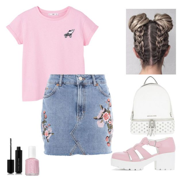"""pink"" by roselie1405x on Polyvore featuring MANGO, Topshop, Essie, Marc Jacobs and MICHAEL Michael Kors"