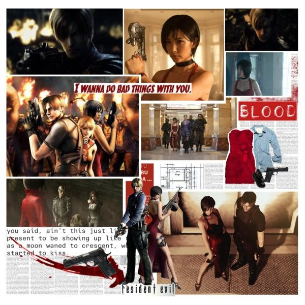 SCIENCE FICTION; Resident Evil Novels / Leon S.Kennedy and Ada Wong; Challenge 6 by lejournaldessecrets on Polyvore featuring Notte by Marchesa, Ollio, Ashley Graham, E.vil and MillÃ