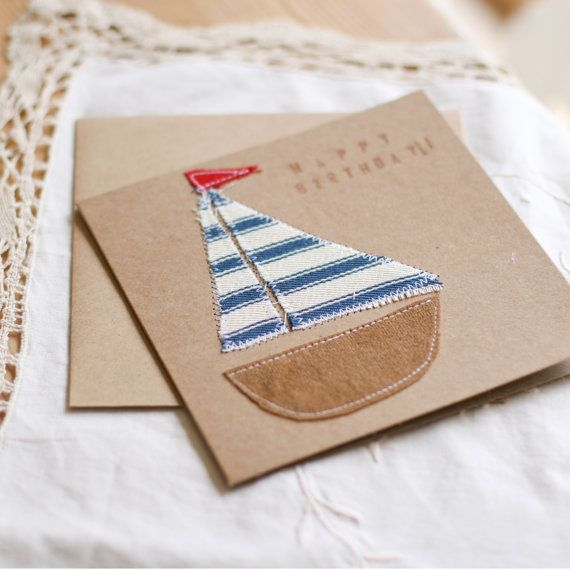 Nautical  Fabric Boat  Birthday Card Invitation by Foundintheloft