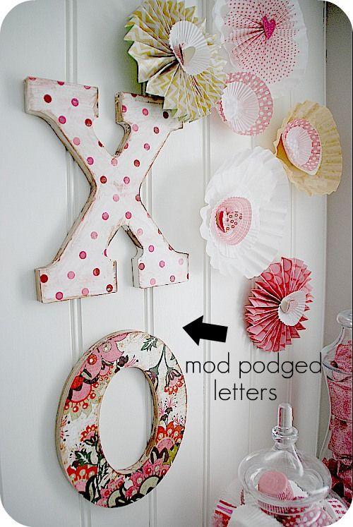 mod podged letters: Baby Names, Valentines Vignettes, Crafts Ideas, Mod Podge, Command Strips, Podge Letters, Valentines Decor, Letters Hung, Paper Rosettes