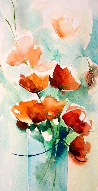Petit instant N° 199 (Peinture),  10x20 cm par Véronique Piaser-Moyen Aquarelle originale sur papier 300 G