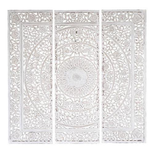 Wit houten ANDAMAN drieluik-schilderij 150 x 150 cm