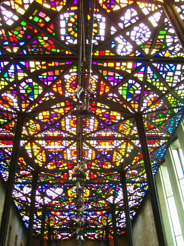 The stained glass ceiling of the Great Hall, National Gallery of Victoria, Melbourne. Australia. Photo taken by Dana Bonn.