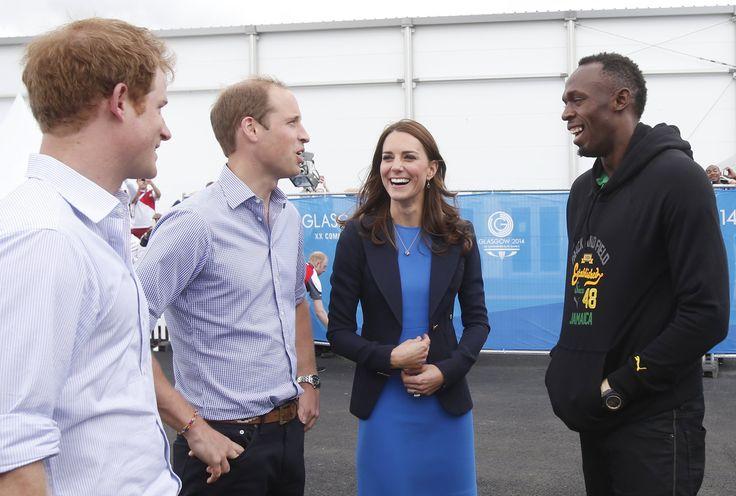 Kate, William und Harry trafen Usain Bolt.