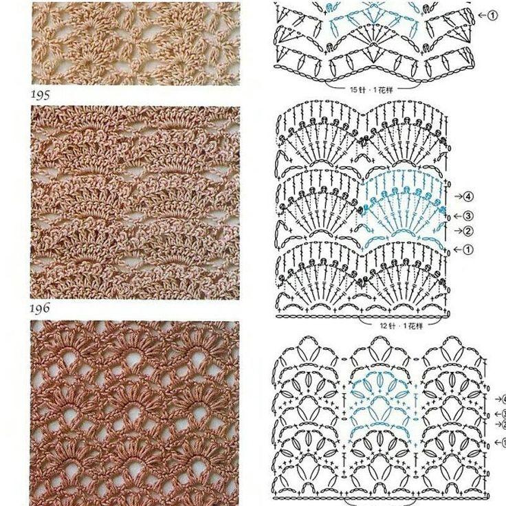 هرکدوم از این پترنها علاوه بربافت  لباس برای شال گردن و حتی روتختی کاربرد دارند by farzane.ste