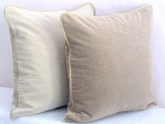 Wheat chenille pillow cover – 20x20 pillow sham –  Velvet piping throw pillow – Classical plain cushion cover – Minimalist sofa toss decor