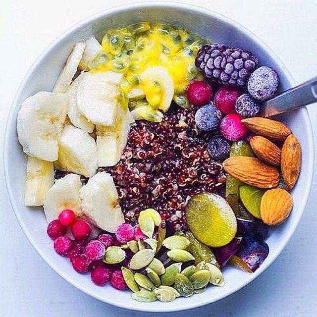 Dream Breakfast Bowl by befitfoods via popsugar.com.au #Breakfast_Bowl #Quinoa #Fruit #Healthy