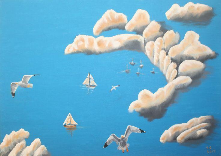 """Blue Lagoon"" - Ulei pe panza 50x70 cm - Oil on canvas 19.7x27.6 inches"