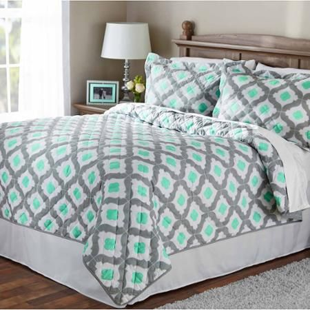 mainstays mint ogee quilt apartment wish shopping list pinterest. Black Bedroom Furniture Sets. Home Design Ideas