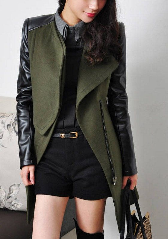 Green coat with leather sleeves – Modern fashion jacket photo blog