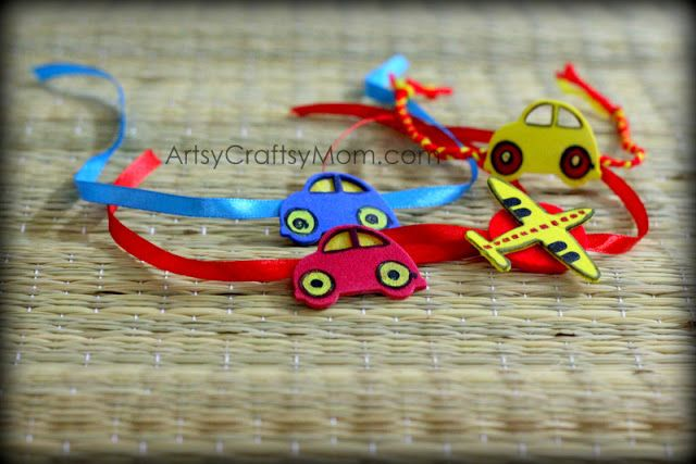Foam Car & Aeroplane rakhi - We have 15 best ideas to make Rakhi at home for Rakshabandhan - Perfect rakhi ideas for kids to make, rakhi competition, best of waste, simple and handmade with detailed step by step images- ArtsyCraftsyMom