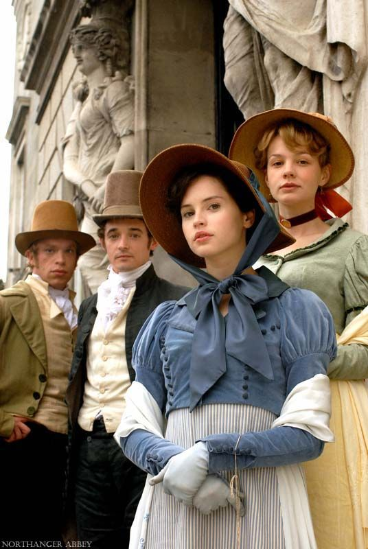 Felicity Jones as Catherine Morland, Carey Mulligan as Isabella Thorpe, Hugh o'Conor as James Morland and William Beck as John Thorpe ...