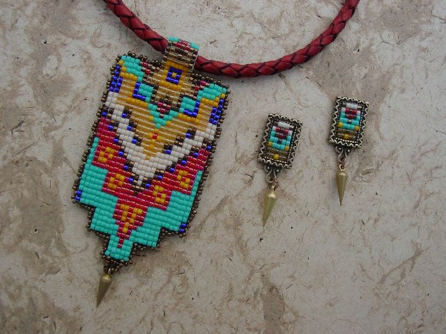 Native American style pendant and earrings.
