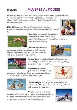 Free reading about Spanish female athletes with exercises to learn sports names and equipment.