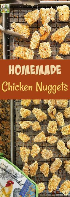 Homemade Chicken Nuggets make easy-to-serve appetizers. This chicken nuggets recipe is gluten-free and kids will love them served with dipping sauce! Make this chicken nugget recipe as a kids meal or party appetizer. #recipe #glutenfree #chicken #chickennuggets #kidfriendly #kidfood #appetizer #kidsmeals #appetizers
