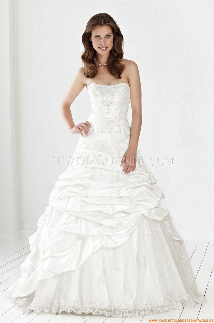 Luxuriöse Brautkleider 2014 aus Satin mit Applikation
