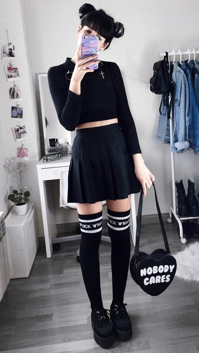 Long sleeve crop top with black skirt, high knees socks & creeper shoes by deaddsouls - #fashion #grunge #alternative