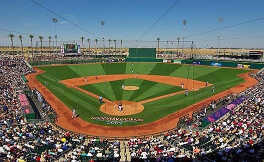 Goodyear Ballpark is the current spring training home of the Cincinnati Reds and the Cleveland Indians. It opened in February of 2009 and has a seating capacity of 10,000. http://www.evergreenturf.com/arizona-sod-for-baseball-fields.php