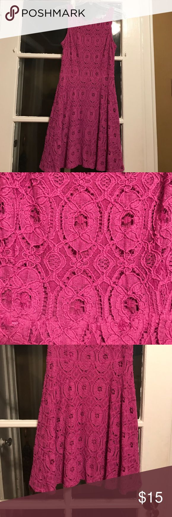 ✨SALE Lace Dress Purple/Pink Lace dress - purple/pink color- zipper up back - dress has a slip under it - there is lace see thru back from bottom down it is not see thru Dresses Midi