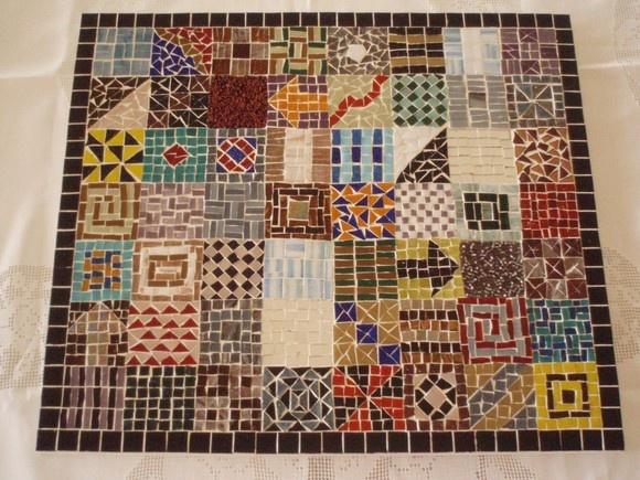Painel ou tampo de mesa mosaico de pastilha de vidro for Mesas de mosaico