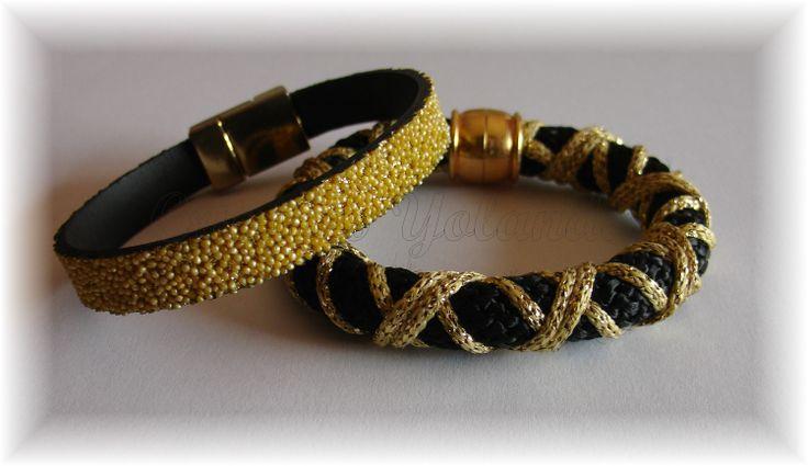 1.Pulseira dourada, fecho zamak com banho de ouro.   2.Pulseira em paracord preto com fios dourados fecho zamak com íman.