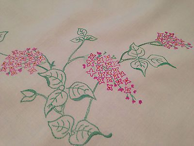 Vintage Hand Embroidered Large Cream Linen Tablecloth LILACS
