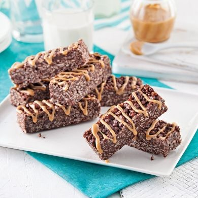Barres croquantes au chocolat et riz soufflé - Desserts - Recettes 5-15 - Recettes express 5/15 - Pratico Pratique
