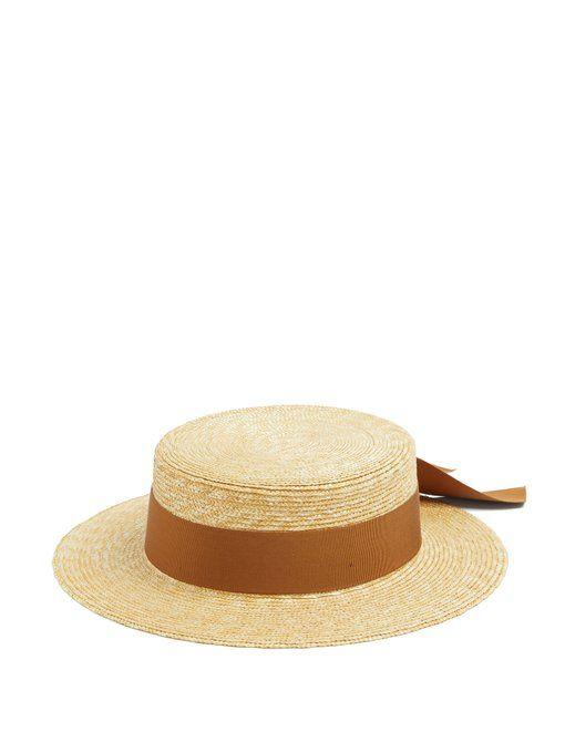 Federica Moretti Faille-ribbon straw boater hat