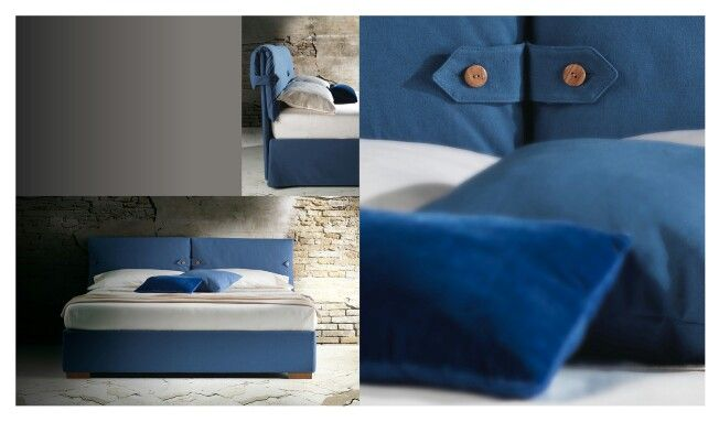 Marianne is recognizable by the headboard with padded pillows and wooden buttons. Milano Bedding http://www.milanobedding.it/
