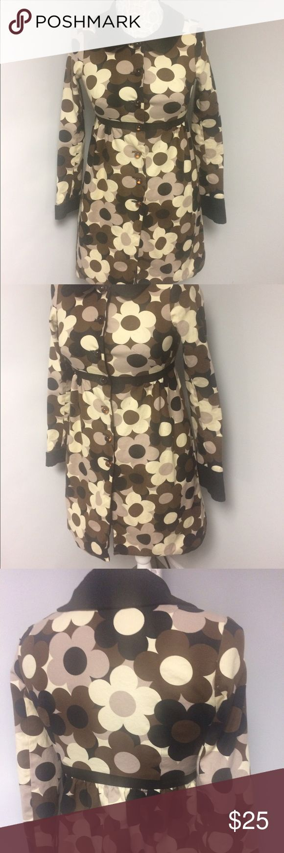 Betsey Johnson coat Floral Print trench coat. Mannequin measures 36 chest and 28 waist. Reposh, there are a few marks on the flowers like in the fourth pic. The coat is busy so it's not real noticeable. Bought on here and accepted it thinking I would make it to the dry cleaners one day however that hasn't happened. Kept price down due to this Betsey Johnson Jackets & Coats Trench Coats