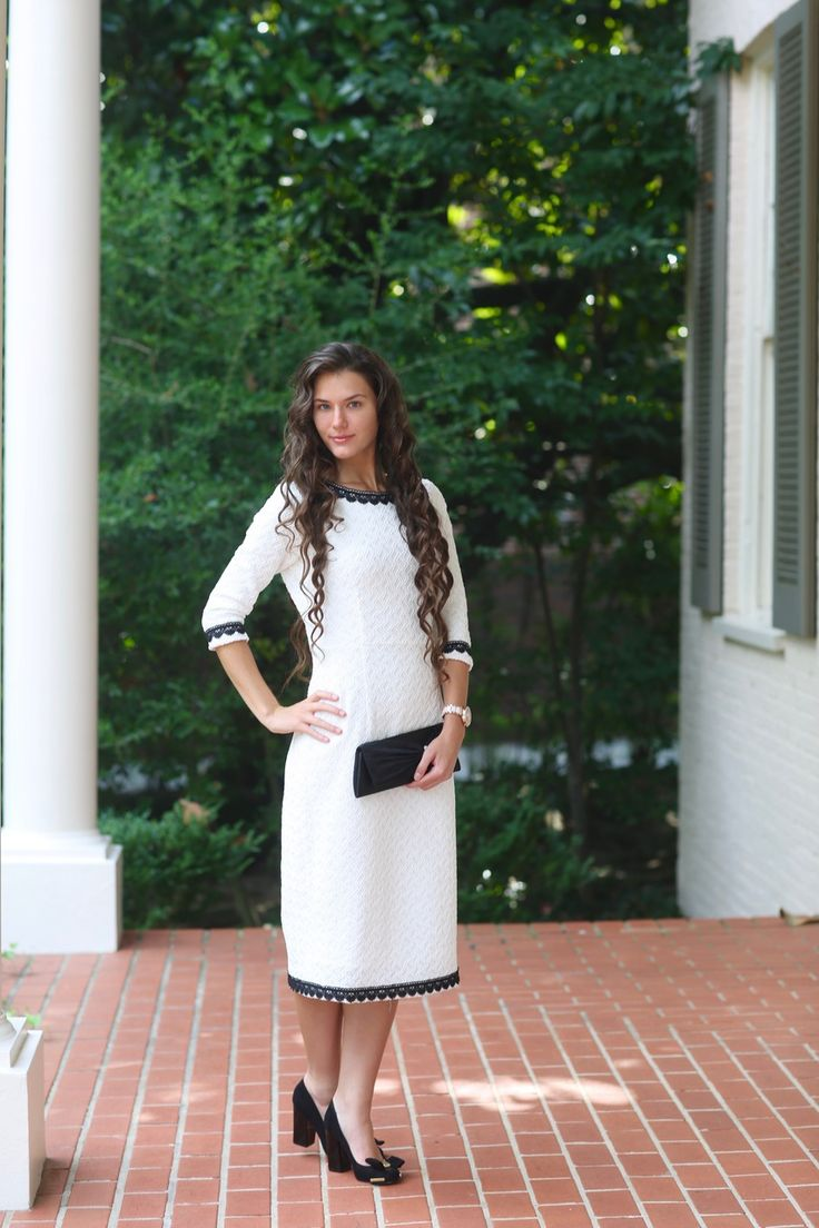 Modest Fashion   Modest Bridesmaid Dresses   Black Trim on White Textured Fabric Alexandria Dress by Dainty Jewell's