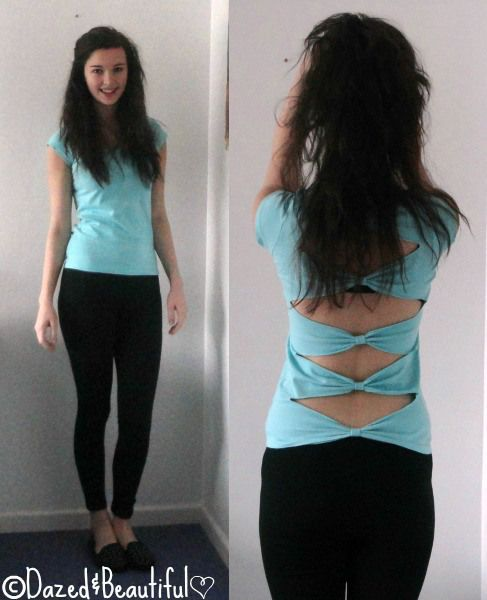 DIY Bow Back Shirt  •  Free tutorial with pictures on how to make a bow top in under 30 minutes