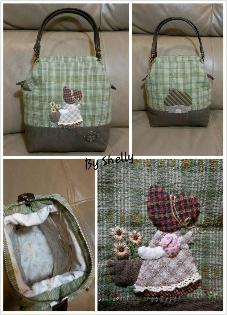 Sunbonnet Sue yarn dye/cotton linen handsewn patchwork and appliqué mini doctor bag