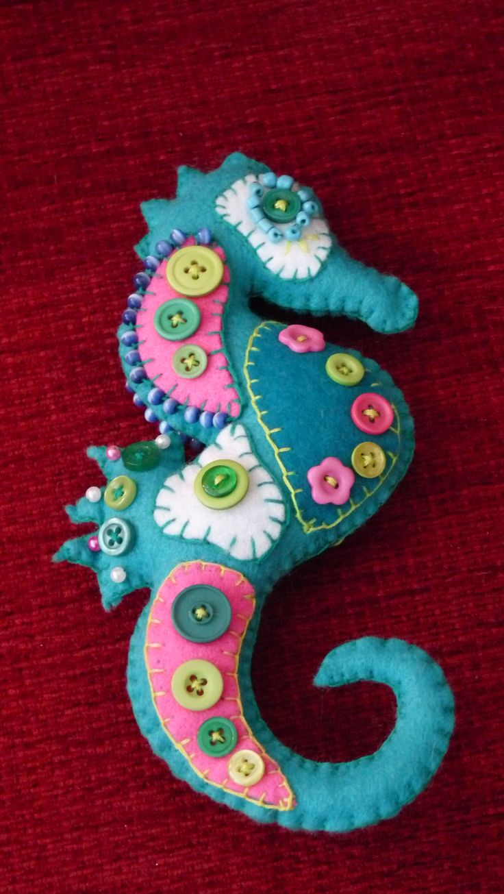 Felt Seahorse with buttons-made by Rosie Lea