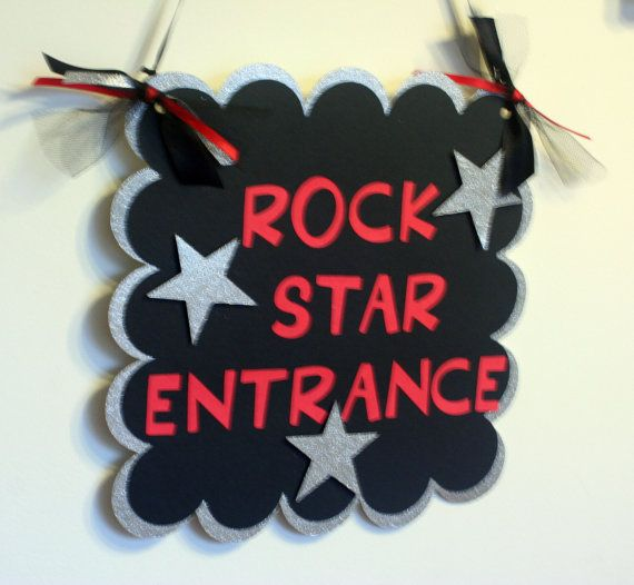 Rock Star or All Star Door Welcome Sign  Black by AngiesDesignz